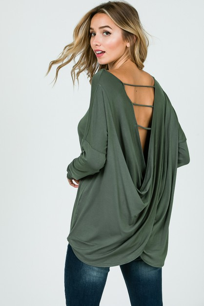 CROSSED OPEN BACK LONG SLEEVE TOP  - orangeshine.com