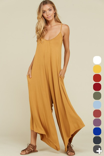 Sleeveless Strap Pocket Jumpsuit - orangeshine.com