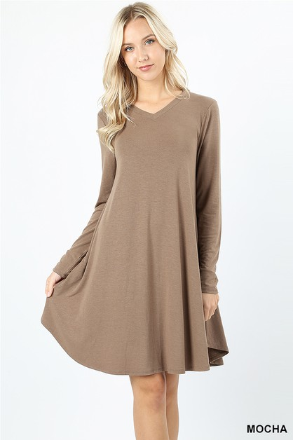 ROUND HEM A-LINE DRESS WITH POCKET - orangeshine.com