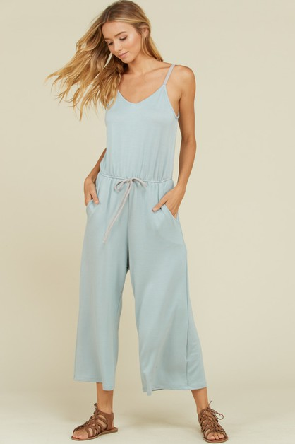 French Terry Ankle Cropped Jumpsuit - orangeshine.com