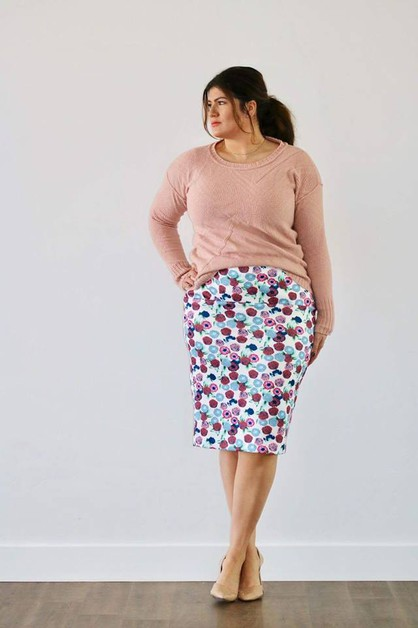 Audra Skirt - Pink Rust Blue Plus - orangeshine.com