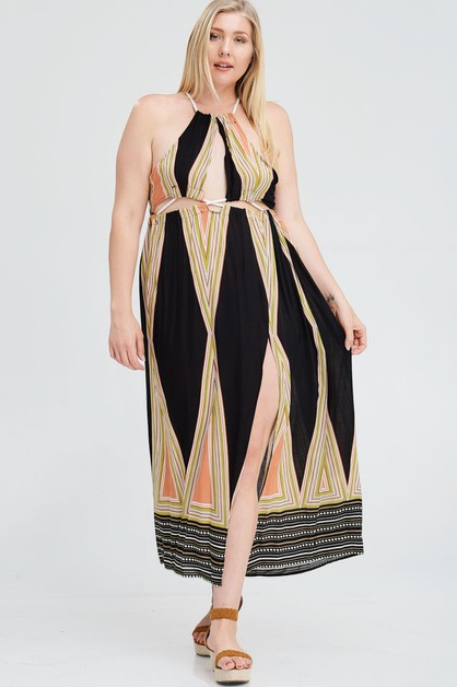 PLUS ROPE CONNECT SIDE MAXI DRESS - orangeshine.com