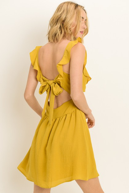 Back Tie Ruffle Dress - orangeshine.com