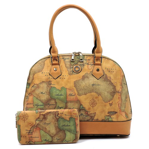 Map Printed 2-in-1 Dome Satchel - orangeshine.com