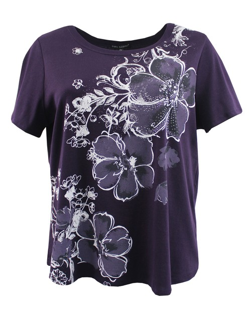 Dark Purple Floral Tee - orangeshine.com