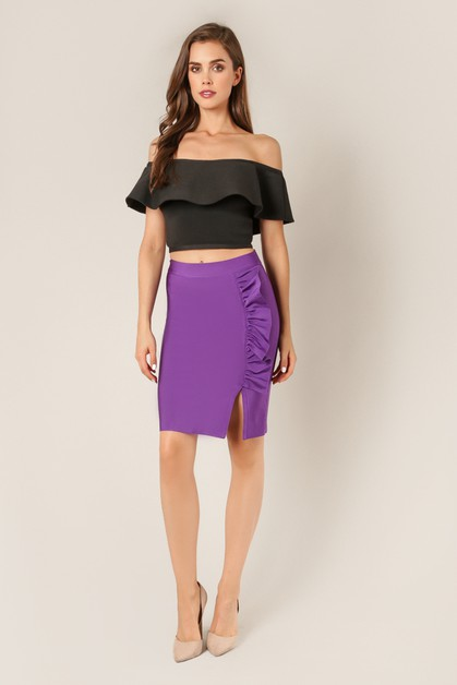 Side Slit Ruffle Skirt - orangeshine.com