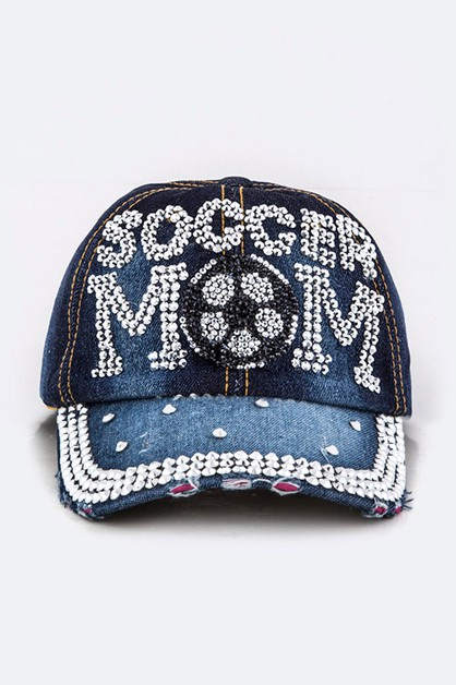 Crystal SOCCER MOM Embelished Cap - orangeshine.com