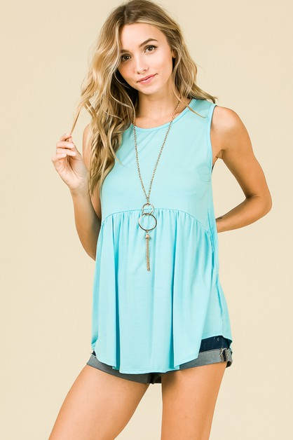 SLEEVELESS BABYDOLL SOLID TUNIC - orangeshine.com