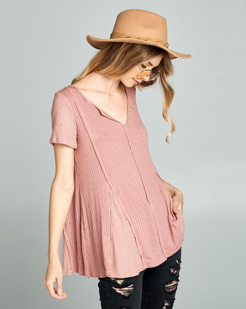 Solid V neck SS bottom flared top - orangeshine.com