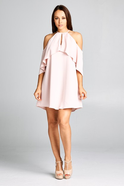 Off Shoulder Satin Short Dress - orangeshine.com