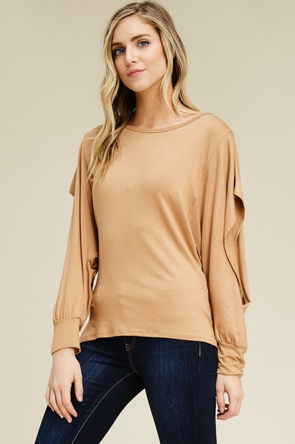 Comfy Dolman Long Slit Sleeves Top  - orangeshine.com