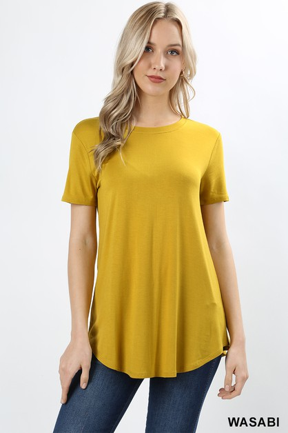 PREMIUM RAYON ROUND HEM AND NECK TOP - orangeshine.com