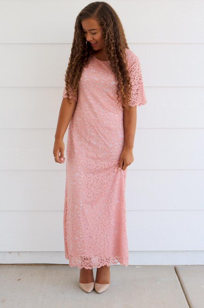 Dayna Dress - Mauve Lace Maxi - orangeshine.com
