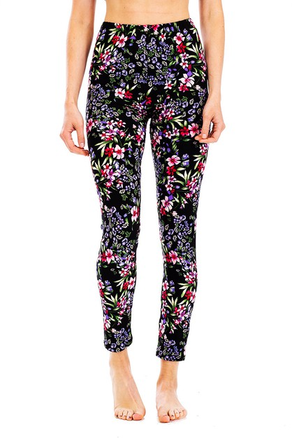 Peach Skin Mix Floral Print Leggings - orangeshine.com