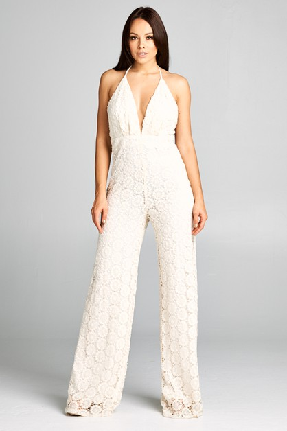 Lace V-Neck Jumpsuit - orangeshine.com