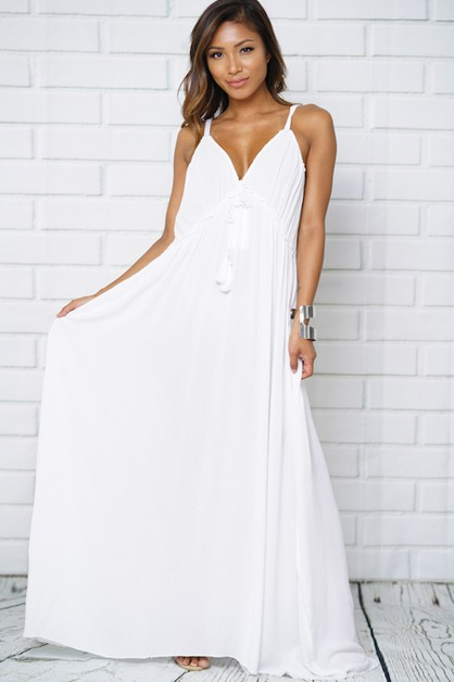 Low V-neck Backless Maxi Dress - orangeshine.com