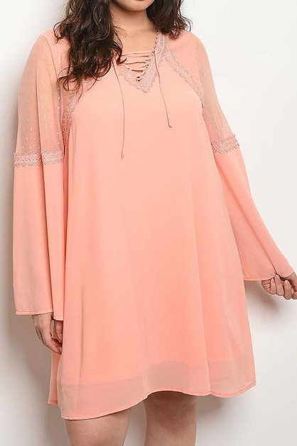 BELL SLEEVE MESH PLUS DRESS - orangeshine.com
