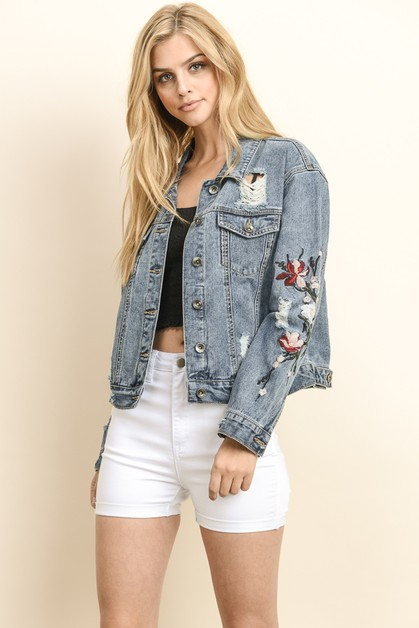 CROPPED EMBROIDERED DENIM JACKET - orangeshine.com