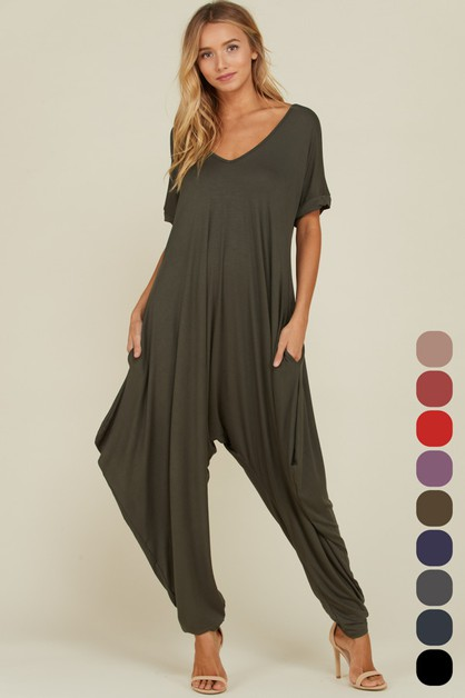 Short Sleeve Side Pocket Jumpsuit - orangeshine.com