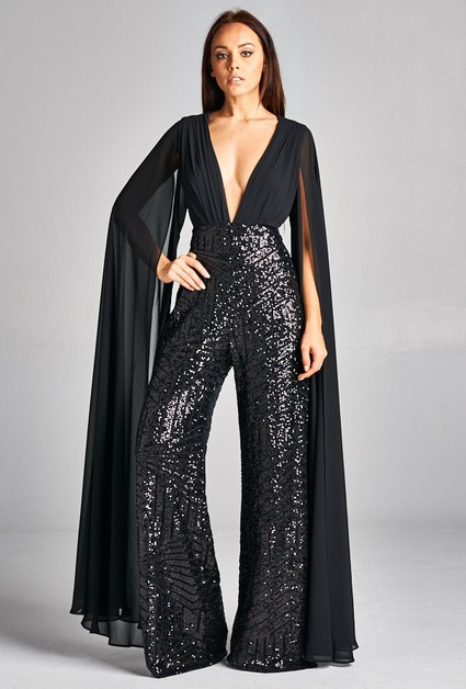 Long Sleeve Sequin Jumpsuit - orangeshine.com