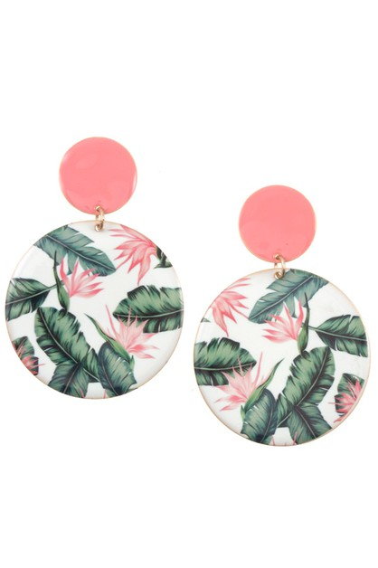 ROUND FLORAL PATTERN DANGLE EARRING  - orangeshine.com