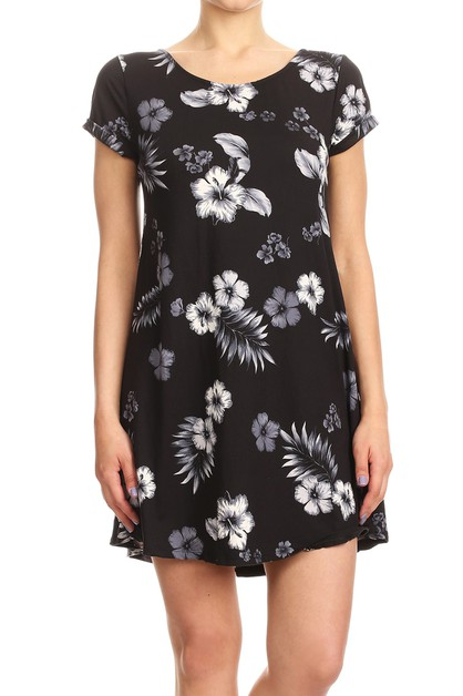 Black Floral Casual Dress Relax Fit - orangeshine.com