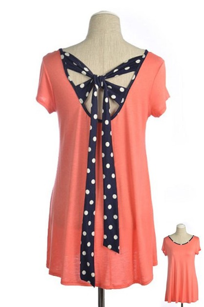 POLKA DOT TIE BACK FASHION TUNIC  - orangeshine.com