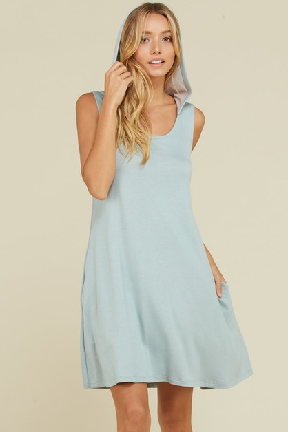 French Terry Tank Hoodie Swing Dress - orangeshine.com