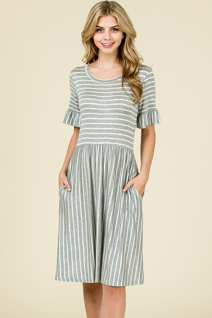 STRIPE RUFFLED SLEEVE DRESS  - orangeshine.com