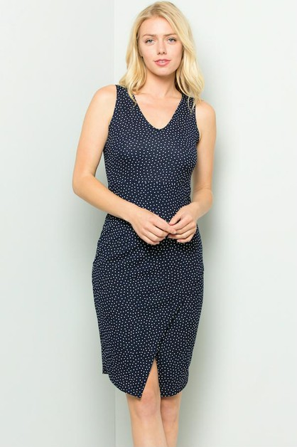 Dotted with Front Slit Dress Plus - orangeshine.com