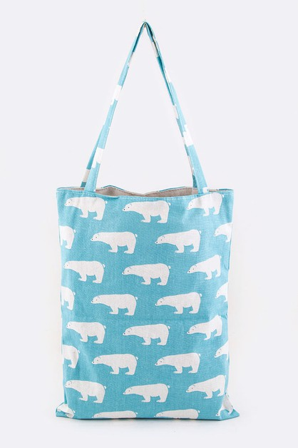 Polar Bear Print Canvas Tote - orangeshine.com