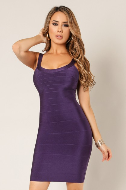 Bandage Back Zipper Strap Dress - orangeshine.com