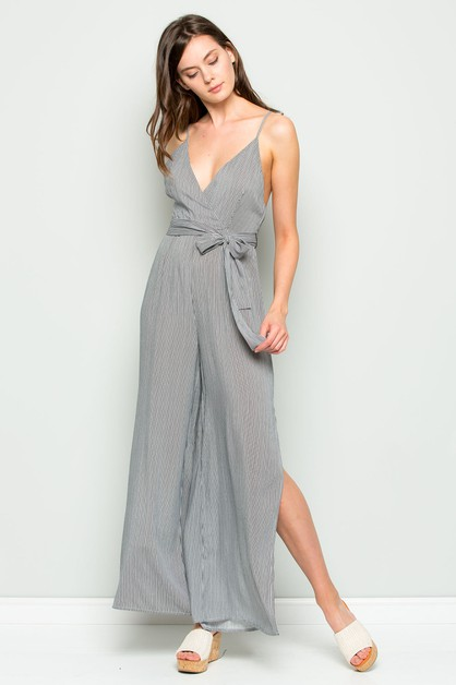 STRIPE V-NECK SLIT WIDE LEG JUMPSUIT - orangeshine.com