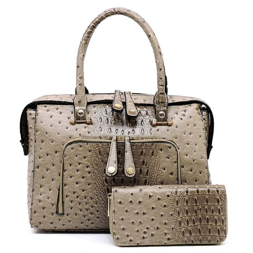 Ostrich Croc 2-in-1 Satchel - orangeshine.com