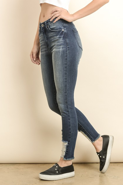 HIGH RISE DISTRESSED SKINNY JEANS - orangeshine.com