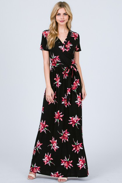 BELTED FLORAL WRAP MAXI DRESS - orangeshine.com