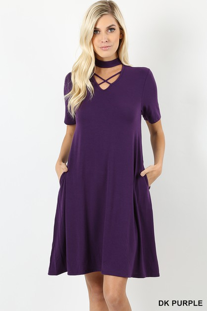 PREMIUM FABRIC CHOKER NECK DRESS - orangeshine.com