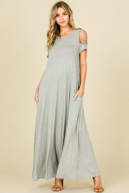 OPEN SHOULDER MAXI DRESS - orangeshine.com