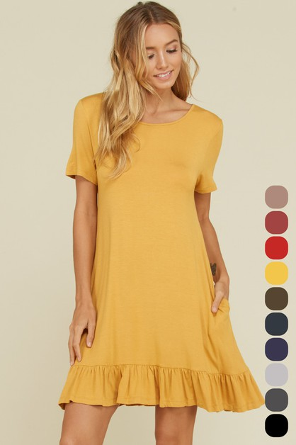 Short Sleeve Ruffle Hem Dress - orangeshine.com