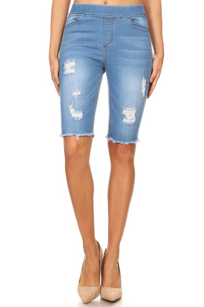 Denim high waisted Bermuda shorts  - orangeshine.com