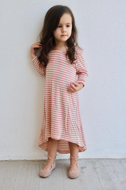 Lucey Dress - Little Girls Pink Str - orangeshine.com