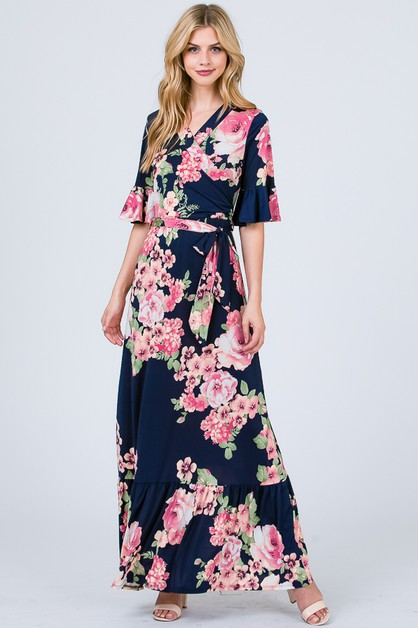FLORAL WRAP MAXI DRESS - orangeshine.com