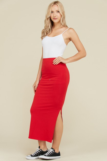 SIDE SLIT MAXI SKIRT  - orangeshine.com