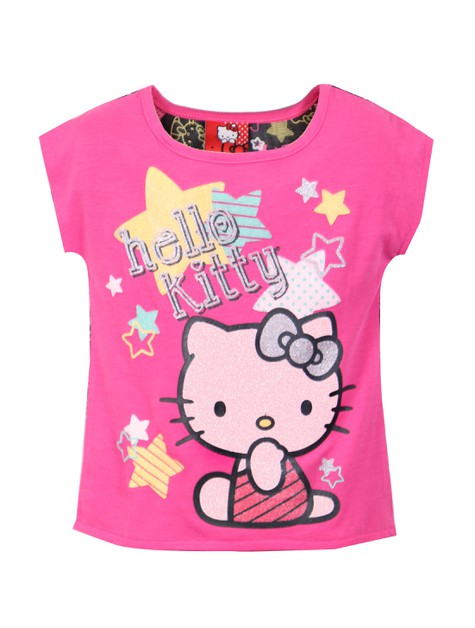 Hello Kitty Graphic High Low T-shirt - orangeshine.com