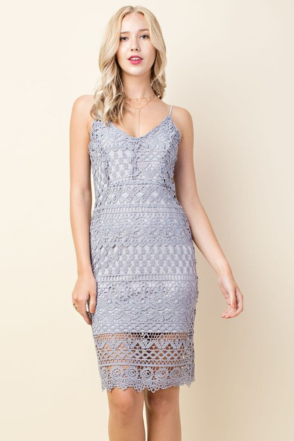 Lace Bodycon Midi Dress - orangeshine.com