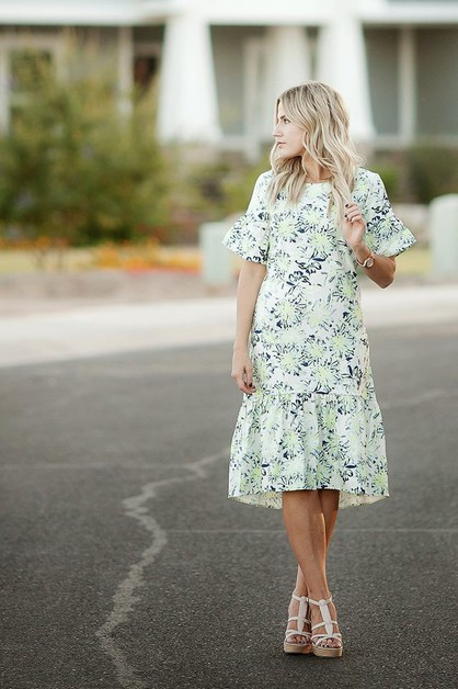 Kalliope Dress - Green Floral Plus - orangeshine.com
