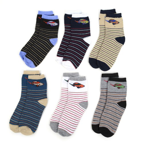 24 Pairs Kids Boy Striped Socks - orangeshine.com