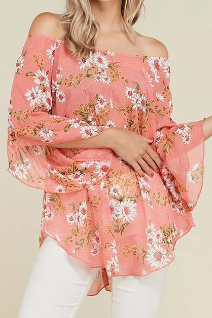 SHEER FLORAL PRINT OFF SHOULDER TOP - orangeshine.com