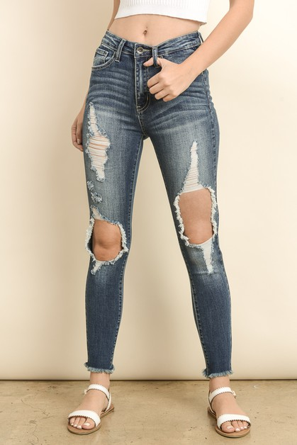 HIGH RISE DESTROYED SKINNY JEANS - orangeshine.com