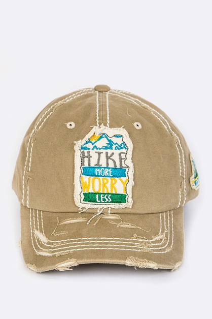 Hike More Worry Less Distressed Cap - orangeshine.com
